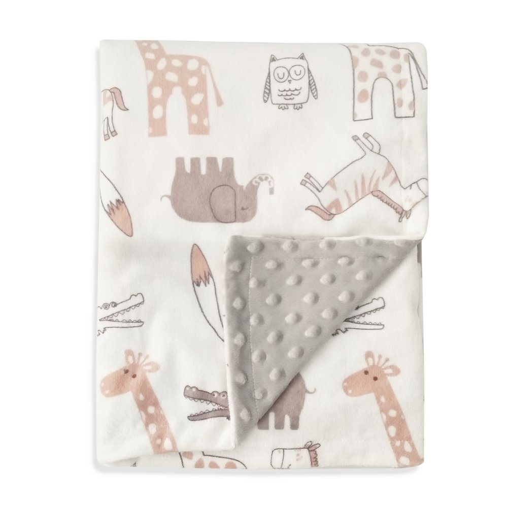 Boritar Baby Blanket Soft Minky with Double Layer Dotted Backing, Lovely Animals Printed 30''x40''