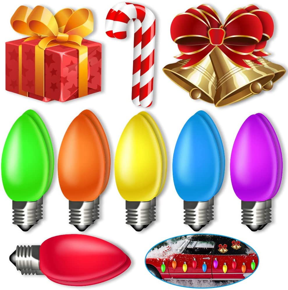 18 PCs Christmas Car Magnetic Decoration Jumbo Lights and Ornaments for Winter Holiday Gift Giving, Garage, Refrigerator, Home and Mailbox Decorations.