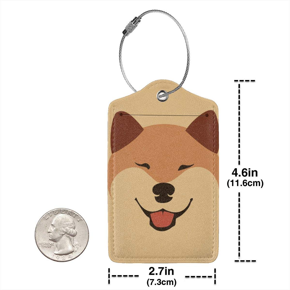 GoldK Cute Shiba Inu Akita Leather Luggage Tags Baggage Bag Instrument Tag Travel Labels Accessories with Privacy Cover