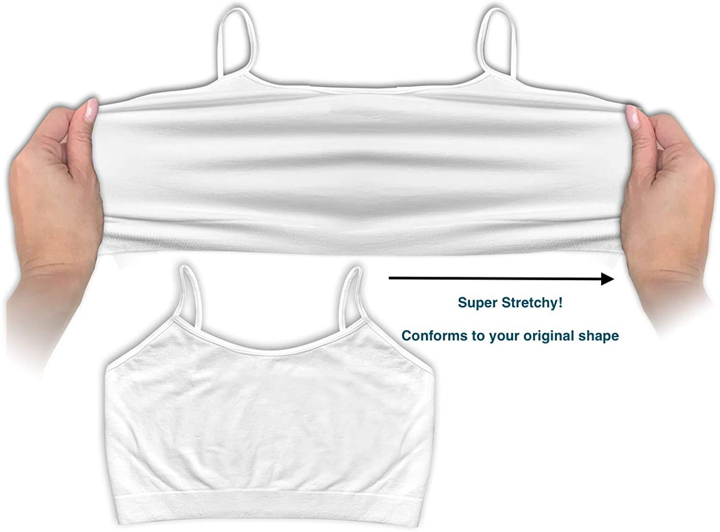 4 Pack Womens Seamless Wireless Half Cami Unpadded Bra Tops for Layering with Spaghetti Straps