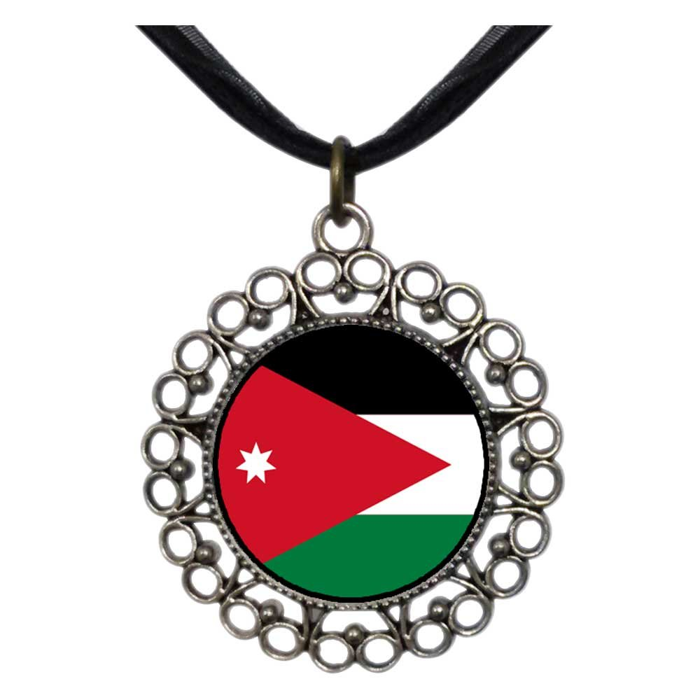 GiftJewelryShop Ancient Style Silver Plate Jordan flag Floral Hoop Charm Pendant Necklace