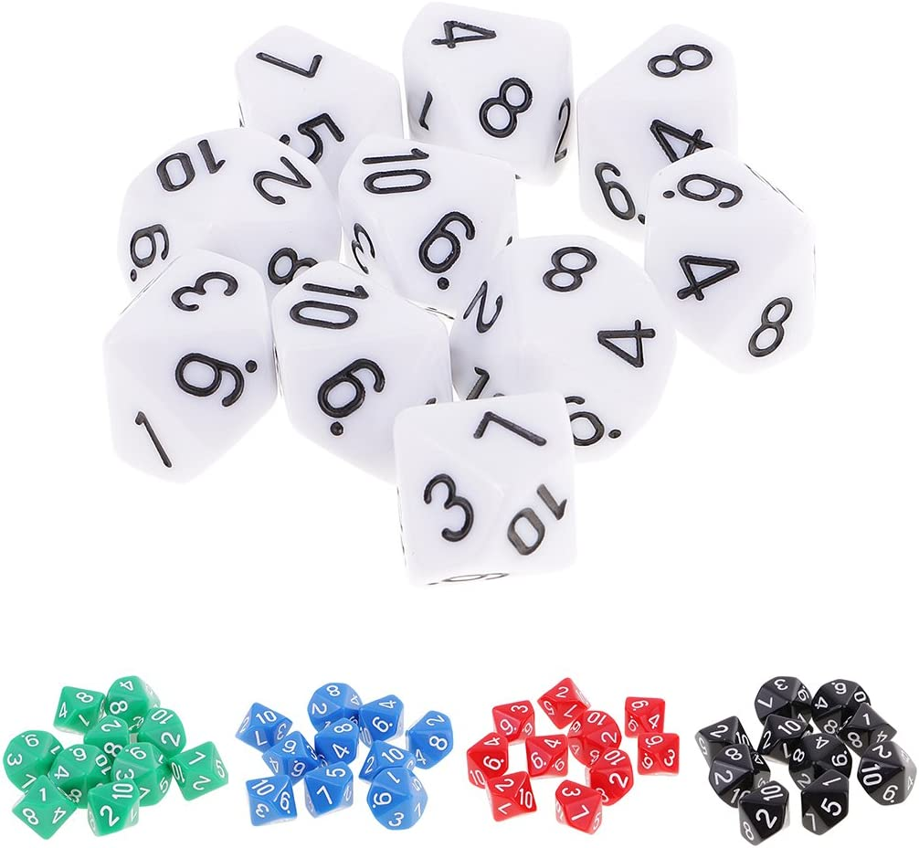 MagiDeal 10 pieces 10 Sided Dice D10 Polyhedral Dice for Dungeons and Dragons Party Table Games White