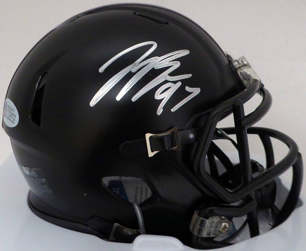 JOEY BOSA AUTOGRAPHED BLACK WITH RED STRIPE OHIO STATE BUCKEYES SPEED MINI HELMET BECKETT BAS STOCK #128917