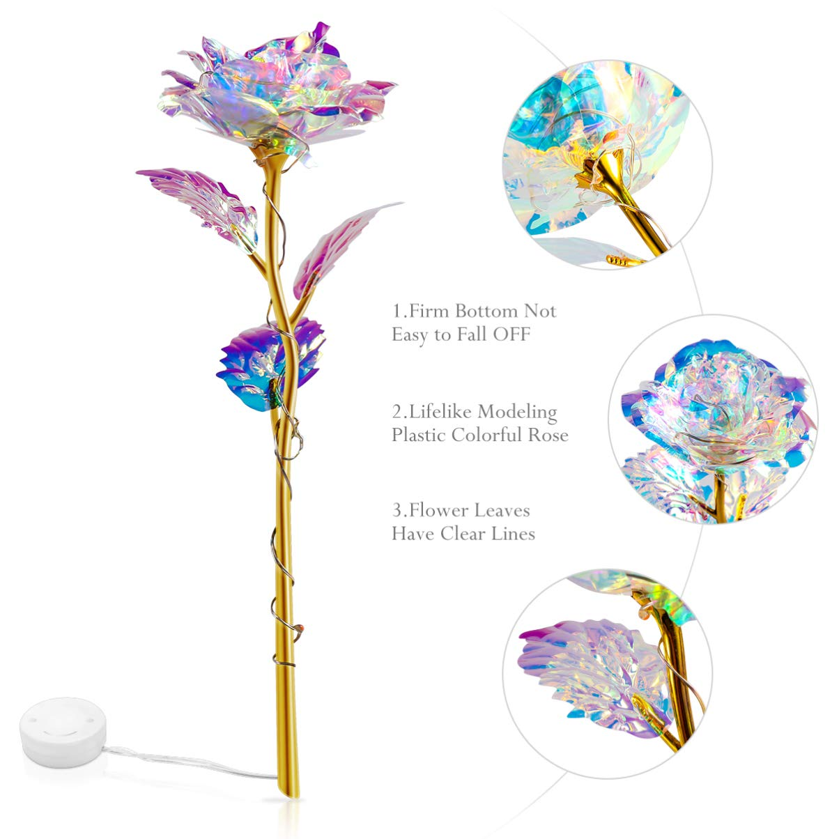Best Gifts for Wife Girl Friend OSALADI Colorful Luminous Rose Artificial Light Gifts Mothers Day Thanksgiving Valentines Day Girls Birthday Party