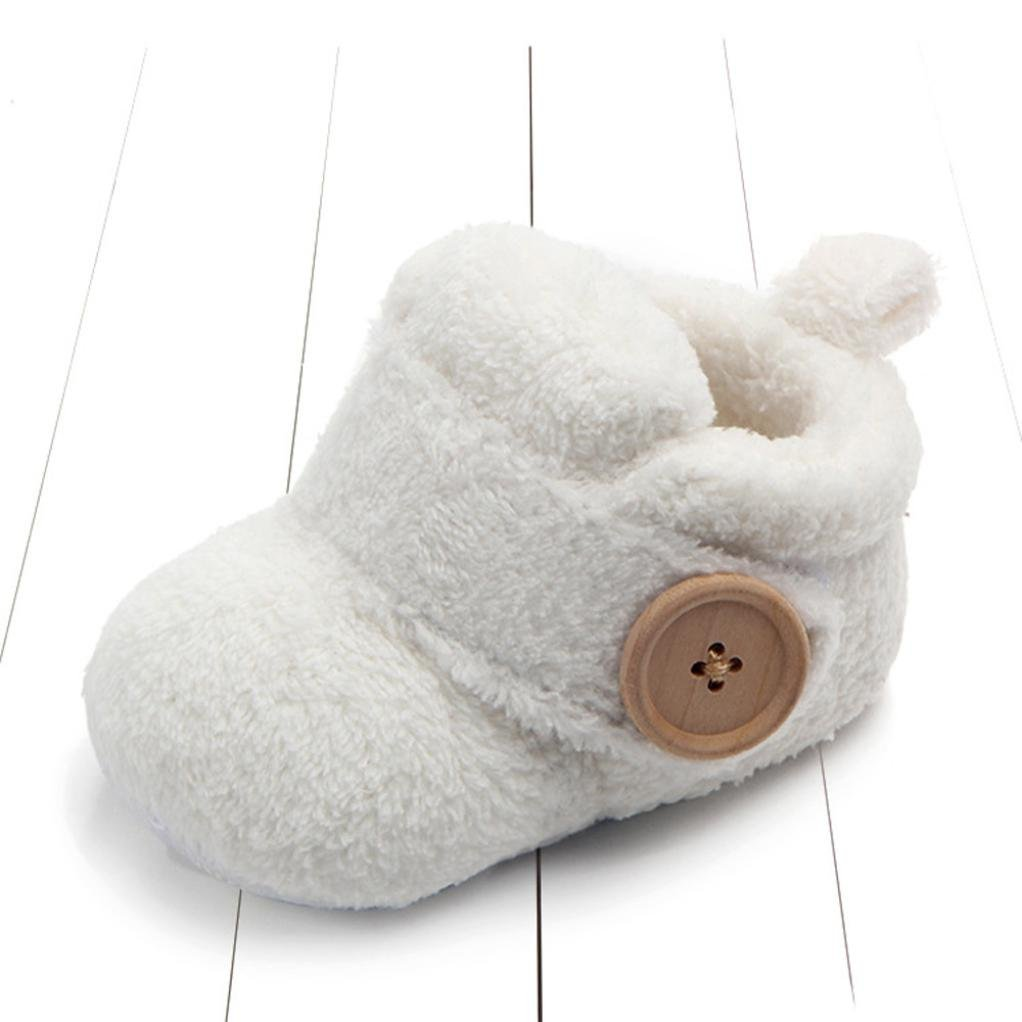 White, Age:6-9Month UK:2.5 for 3-12M Baby,Newborn Baby Girls Boys Shoes Boots,Lovely Toddler First Walkers Round Toe Flats Soft Slippers Shoes,Longra/® Baby Shoes