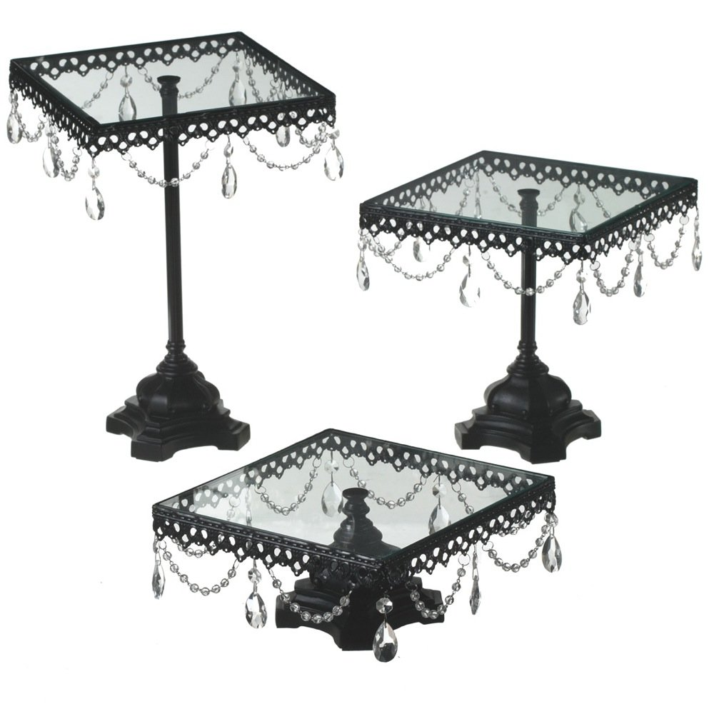 Click to buy Wedding Reception Decoration Ideas: Jeweled Black Square Cake Stand from Amazon!