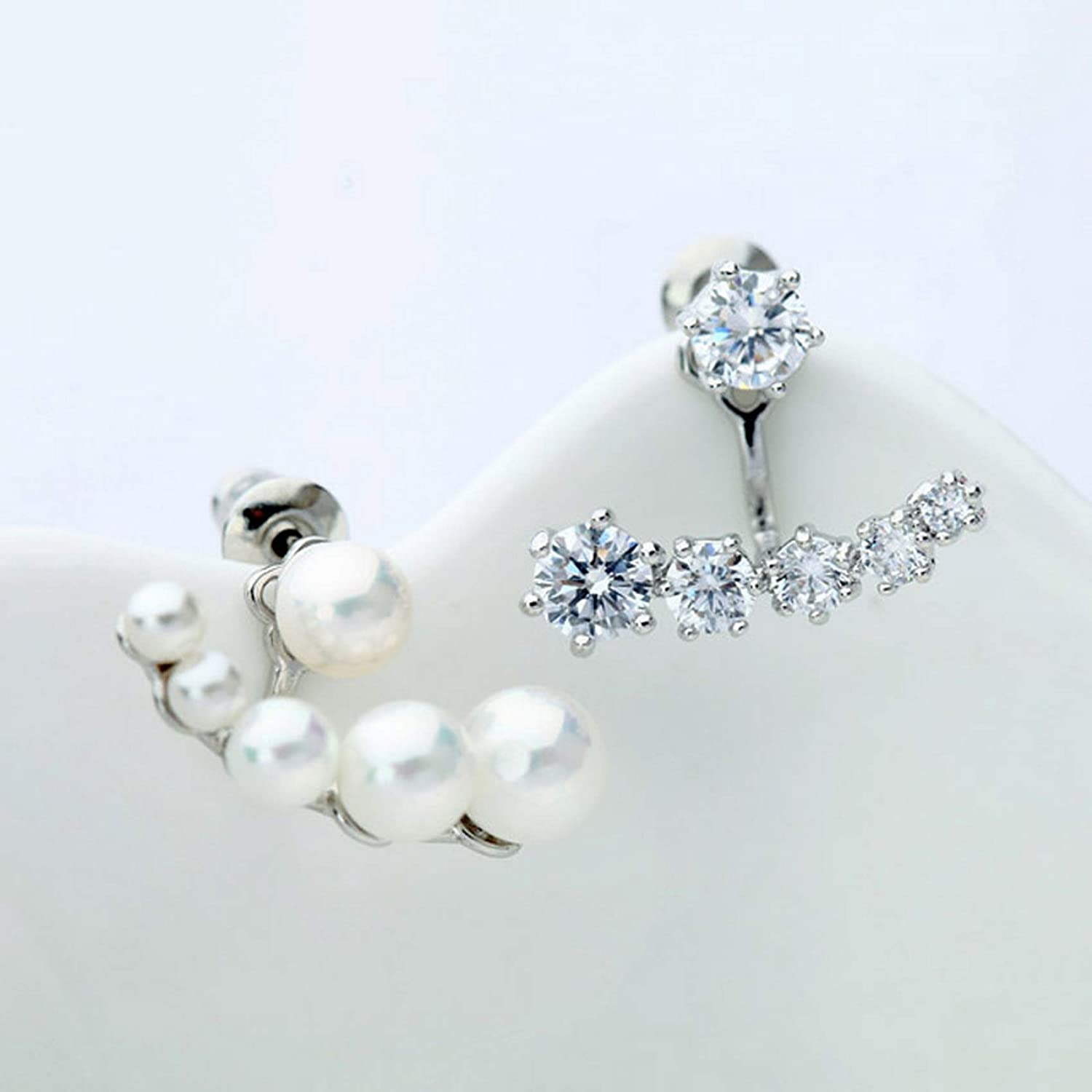 CS-DB Silver Round Inlay Zircon Double Sided White Imitation Pearl Stud Charm Earrings