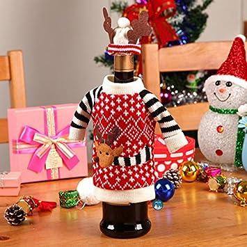 Vktech-Funda para Decoración de Navidad botellas de vino, botellas de funda, para botellas de vino decoración: Amazon.es: Deportes y aire libre
