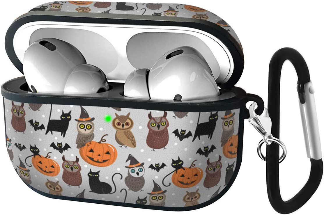 Halloween Owls Pattern Luxury Classic Elegant PU Leather Protective Shockproof Cover Case Compatible with AirPods Pro