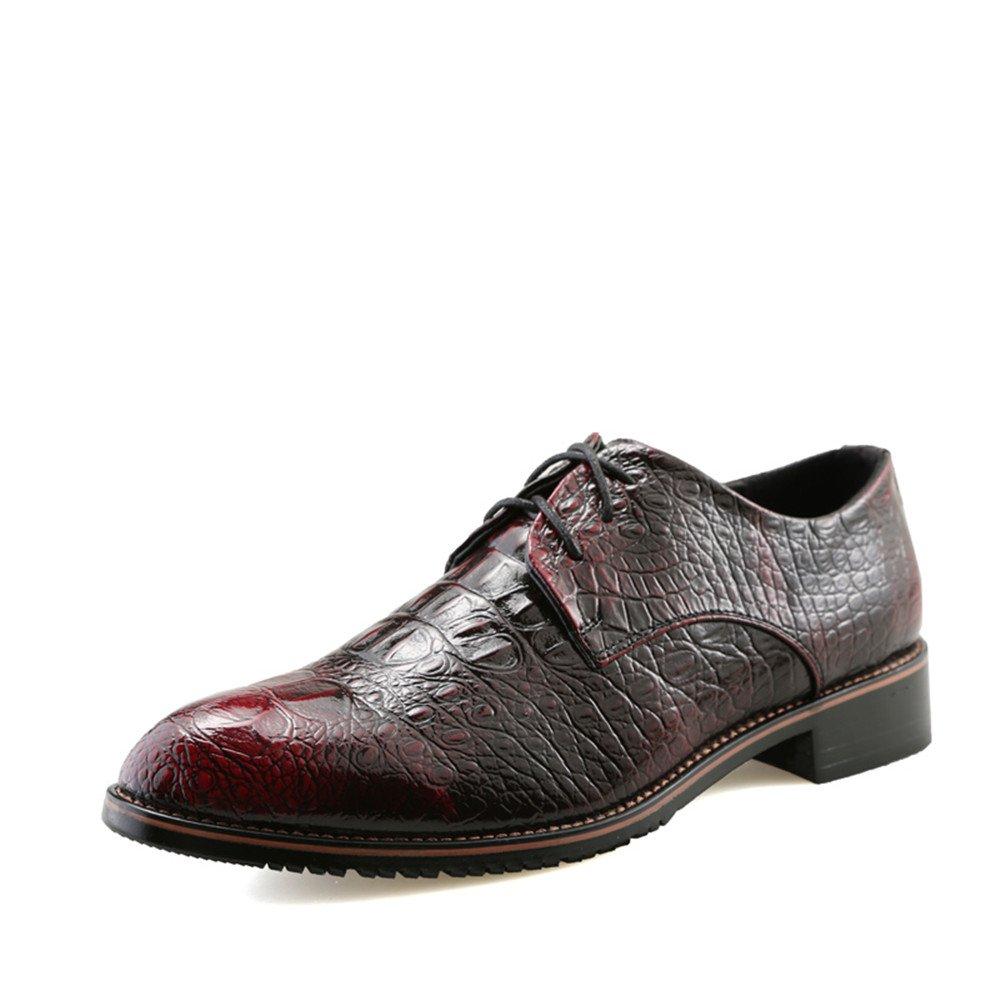 Zapatos Oxford Oxford Casual New Crocodile British Pointy Belt para Hombre 39 EU|Rojo