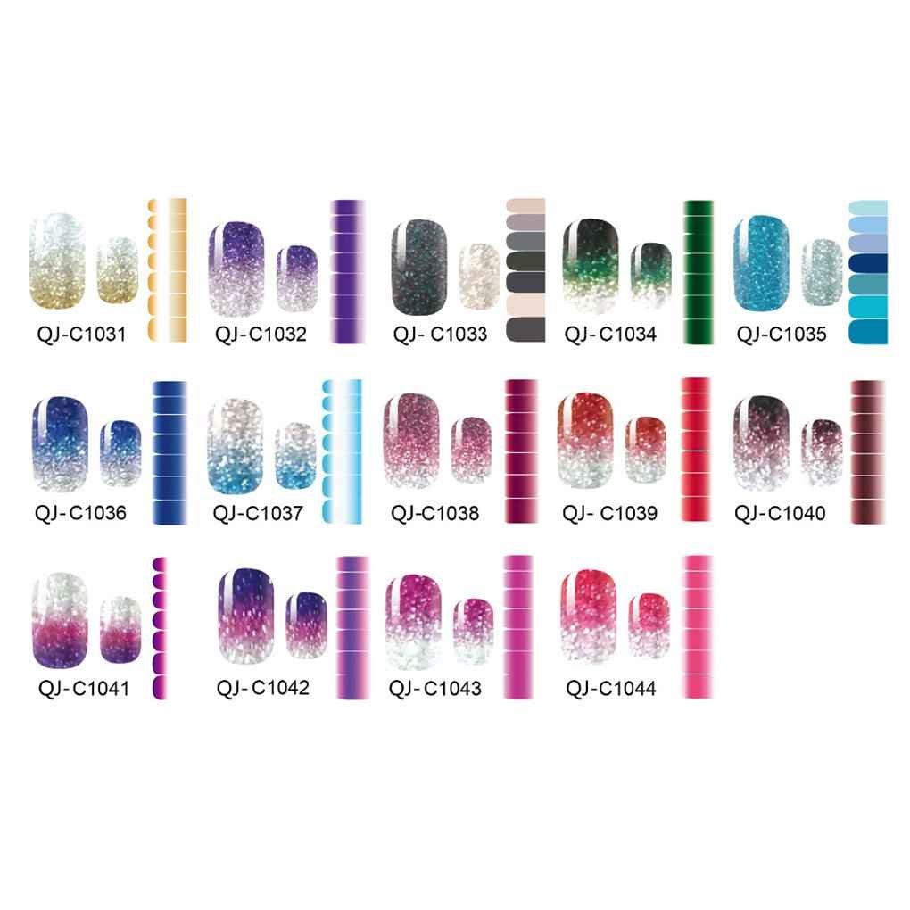 LUFA Color Gradient Glitter On Powder Aufkleber Wraps Nägel DIY Nagel-Dekorationen Aufkleber-Kunst-Wasser-Abziehbilder