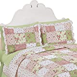 Collections Etc Country Bloom All Over Floral Patchwork-Style Quilted Pillow Sham, Standard