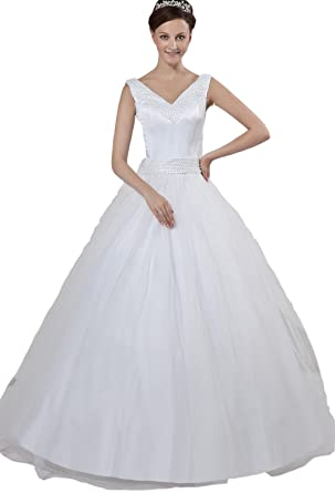 Angel Formal Dresses Satin Off Shoudler Watteau A Line Wedding Dress(2,Ivory)
