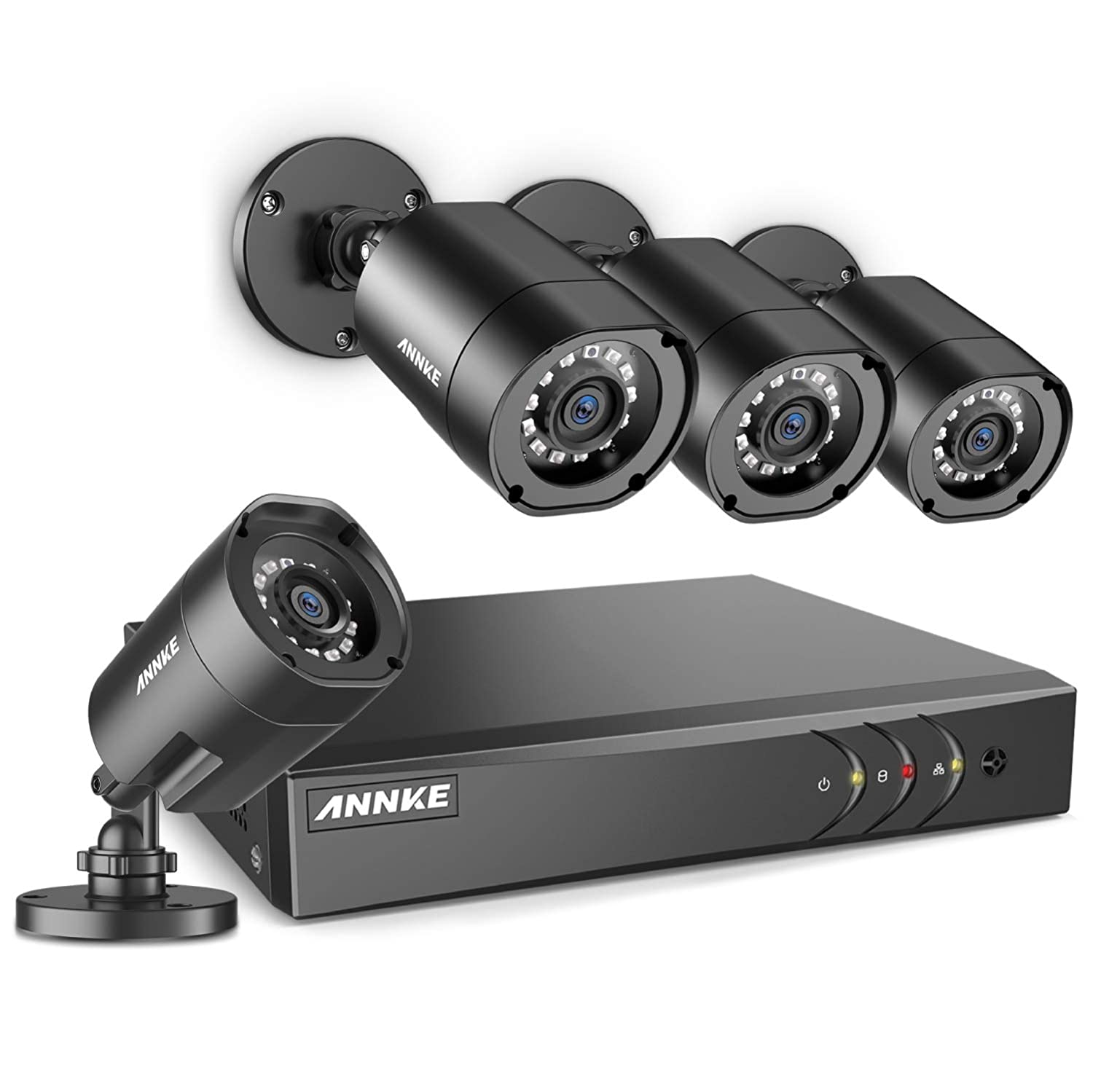 ANNKE Security Camera System 4X 1080P Weatherproof Bullet CCTV Cameras and 4CH 1080P Lite DVR Recorder, H.264+ 1080P HDMI Output, Motion-Triggered Email Alert and Easy Remote View, NO Hard Drive