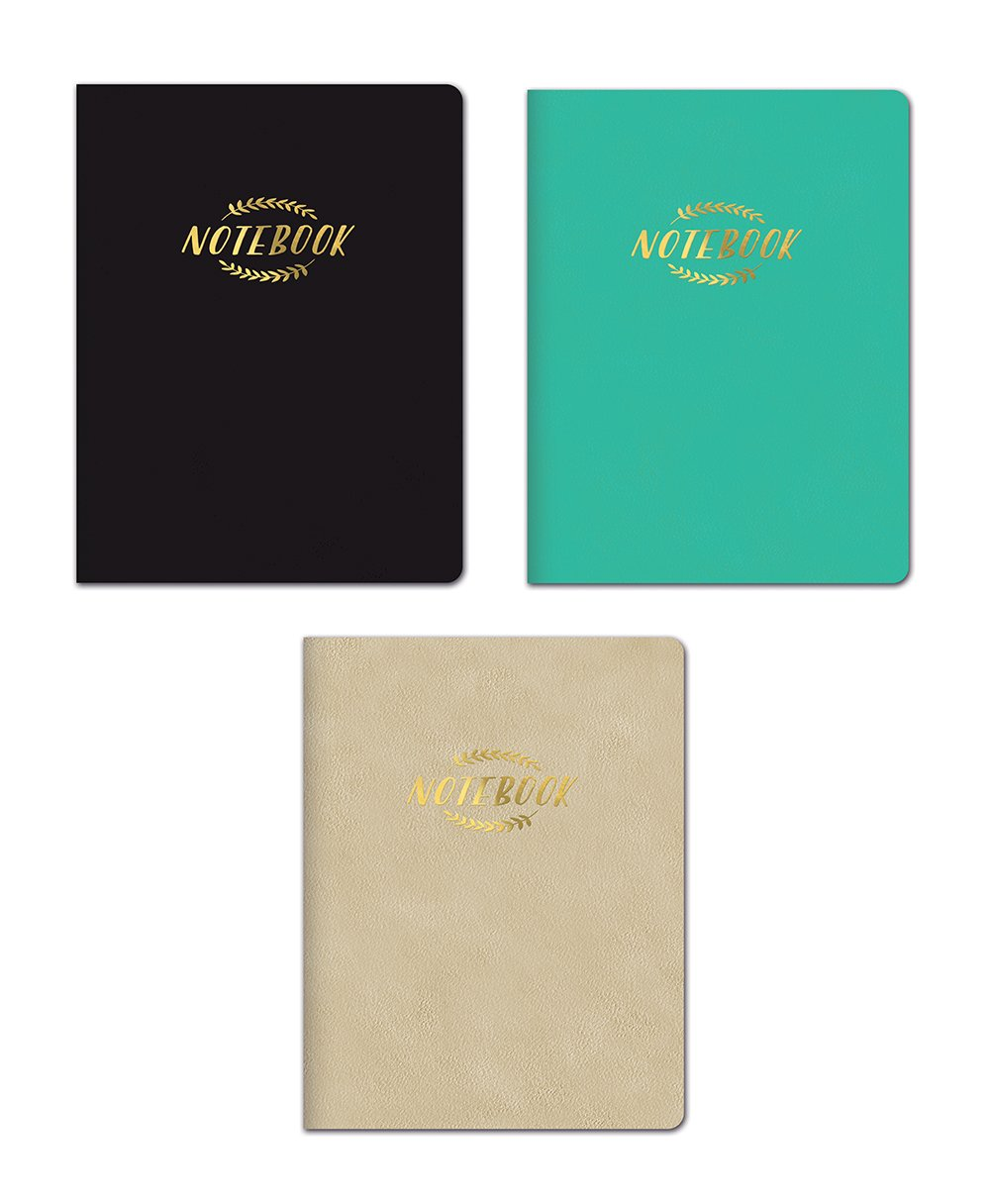 Studio Oh! 3-Count Leatheresque Classic Composition Book Trio Assortment in Black, Emerald, Gold