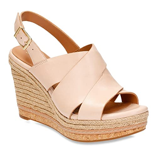 Clarks Amelia Dally Women's Casual Strappy Leather Wedge (05.5, Nude )
