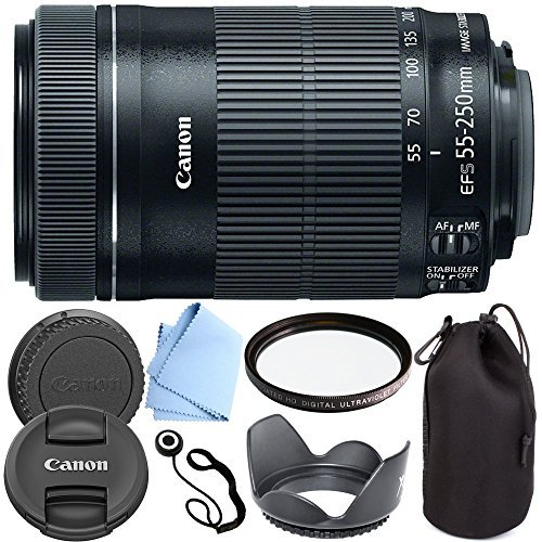 Canon EF-S 55-250mm F4-5.6 IS STM - International Version (No Warranty) Zoom Lens for for Canon EOS 7D, 60D, EOS Rebel SL1, T1i, T2i, T3, T3i, T4i, T5i, XS, XSi, XT, XTi Digital SLR Cameras + Shop Smart Deals Deluxe Kit 55-250mm STM