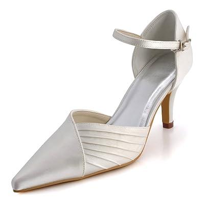 5f61f404383d ElegantPark EP11118 Ivory Women s Pointed Toe Pleated Stiletto Heel Satin  Wedding Bridal Pumps ...