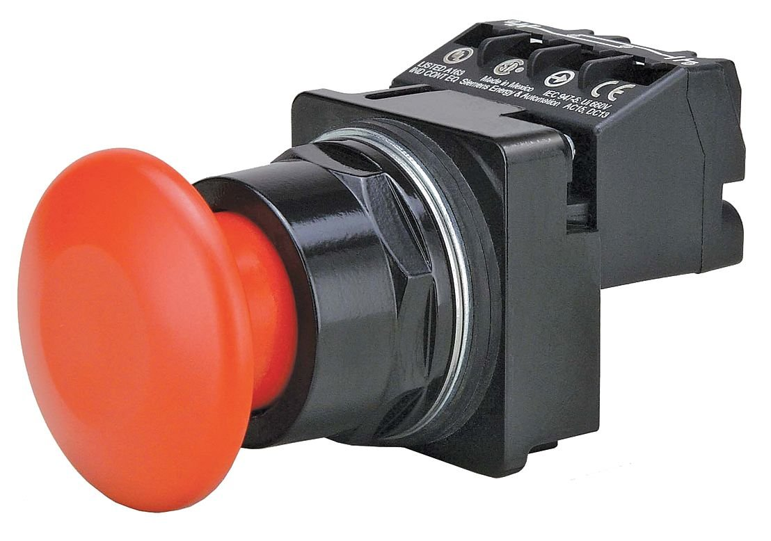 Siemens Green US2-30mm Incandescent 1NC//1NC Illuminated Push Button with Momentary 3 Position Push//Pull Action