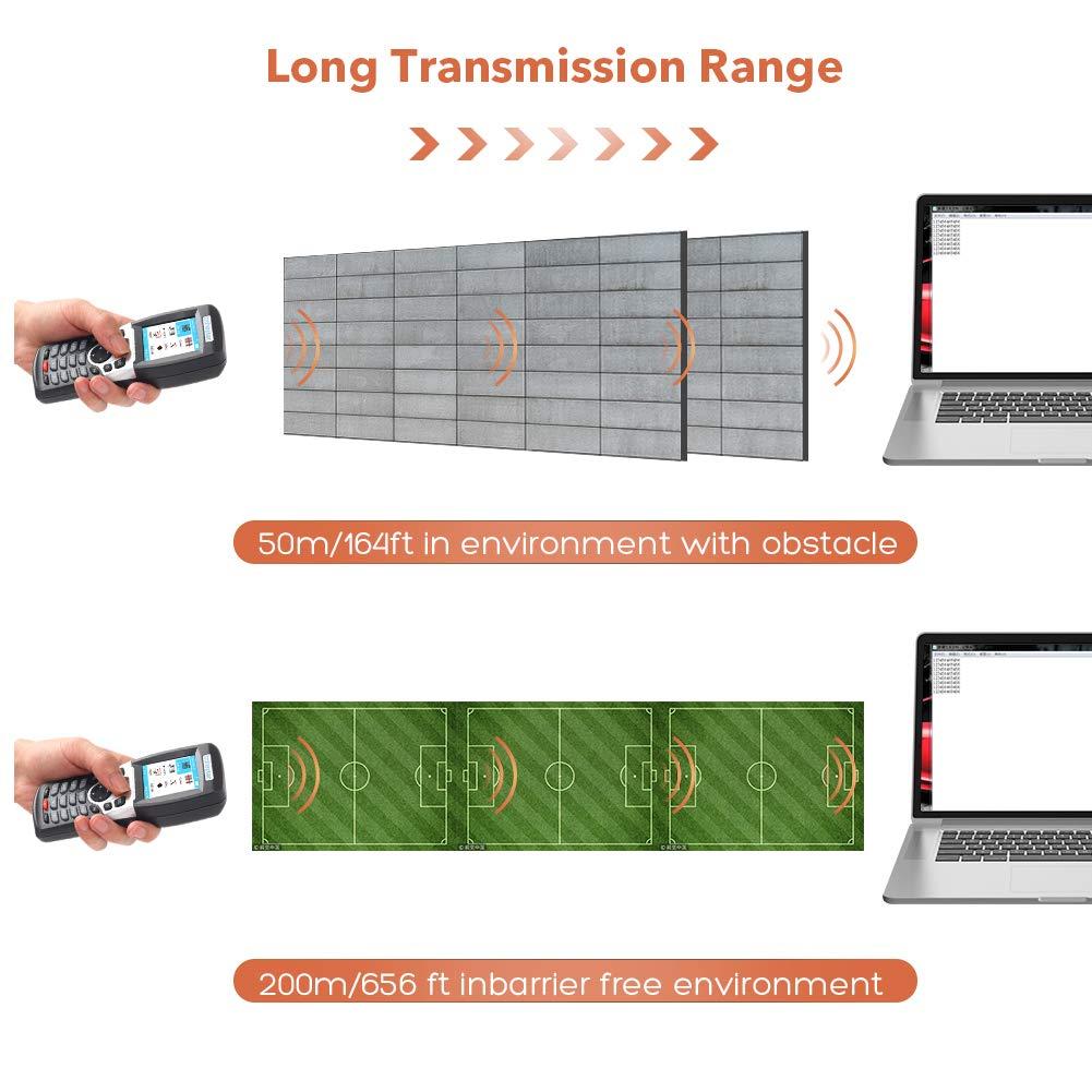 Kabellos Barcode Scanner f/ür Inventur 4 MB Speicher mit 2,4G RF Empf/änger erreichen 50-200m f/ür Lager Superm/ärkte Gesch/äfte 1D Handheld Laser Barcode Leser Trohestar Inventur Scanner