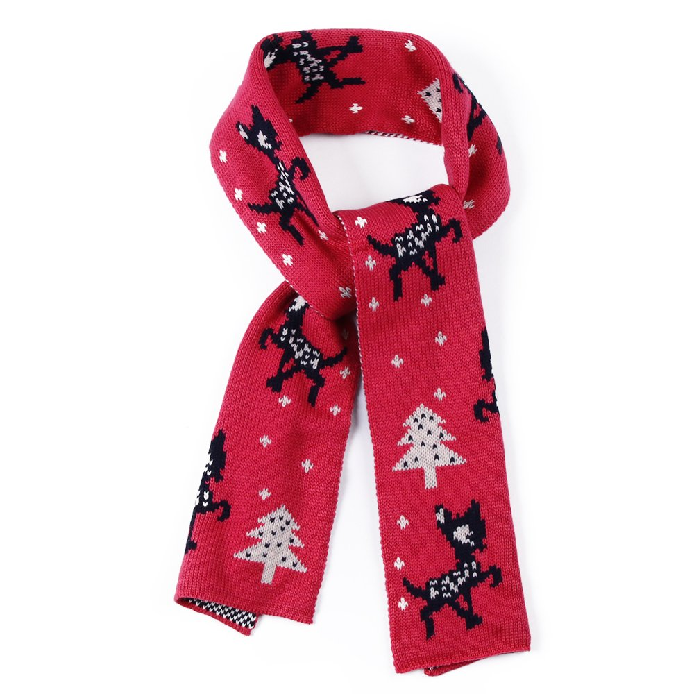 FASISA Winter Kids Scarf Knitted Soft Infinity Warm Gift Shawl Scarf (Red)