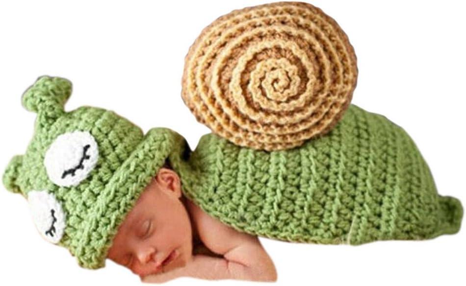Smarstar - Ropa Disfraz Apoyo de Fotos Fotografía para Bebés Recién Nacidos Niños Niñas de Punto de Ganchillo Lindo Formado de Animales una Pieza Sombrero con Manta - Caracol - Verde