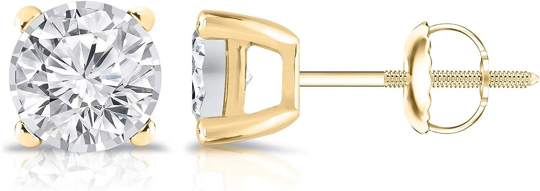 14K Gold Round Diamond Stud...