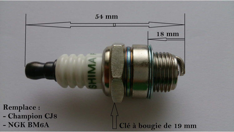 Bougie pour tron/çonneuse d/ébroussailleuse remplace BM6A ou CJ8 taille haies