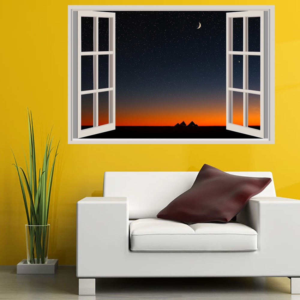 Amazon.com: YangGee 3D Fake Windows Wall Stickers Removable Faux ...
