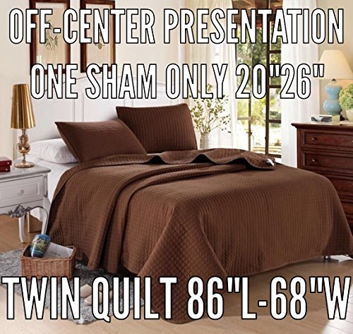 Chocolate solid color Quilt 86'L-68'W, 1 Bonus Shams 20'L-26'W (inner 19'-25'). Hypoallergenic, Finely Stitched, All Season, Coverlet, Bed-cover, Washable, Durable. 6-month free-return policy