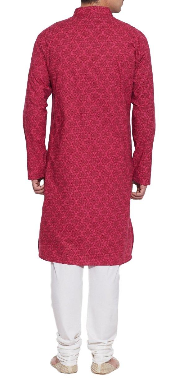 ShalinIndia Cotton Long Nehru Collar Indian Mens Kurta Shirt 3 pockets Magenta 46 by ShalinIndia (Image #2)