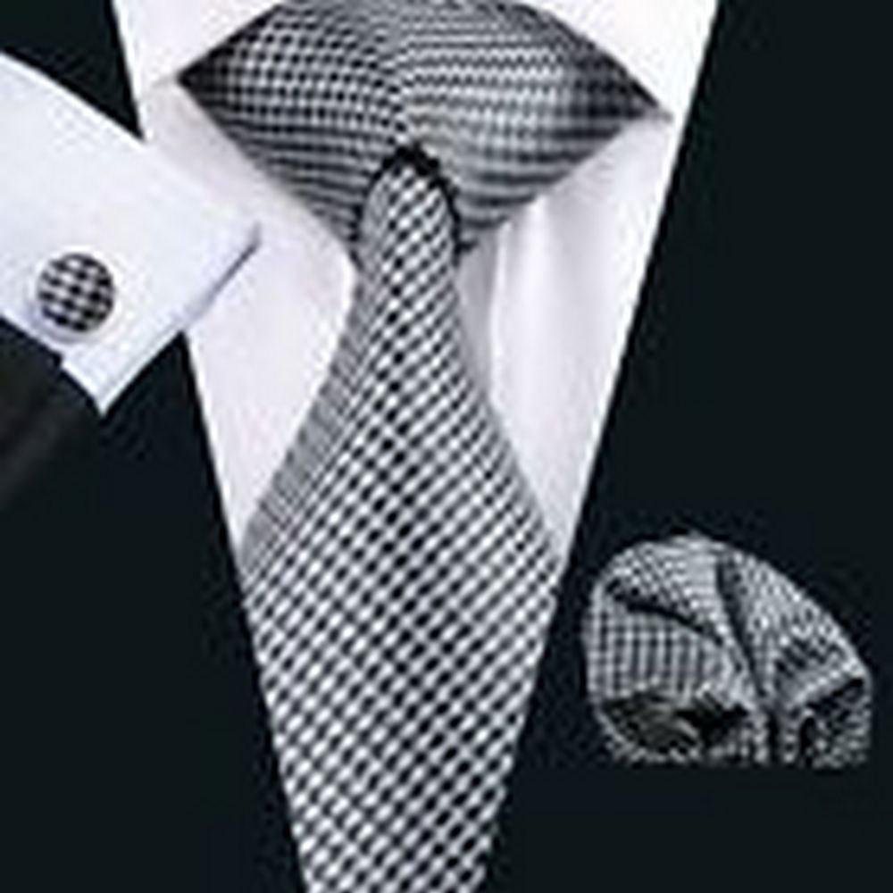 Dream Pole PR-982 Classic Black White Swallow Gird Mens Tie Hankerchief Cufflinks Gift Set #PPTE4022