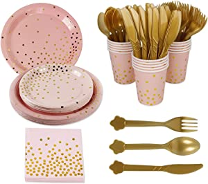 168pcs Pink Gold Party Supplies Disposable Tableware - Paper Dinnerware, Paper Plates, Cutlery, Napkins, Cups, Cutlery (Spoons, Forks, Knives) for Wedding, Girl birthday party, Baby Shower, Serves 24