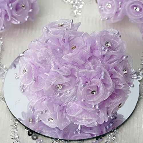 BalsaCircle 72 Lavender Organza Craft Roses with Rhinestones - Mini Flowers DIY Wedding Birthday Party Favors Decorations - Flower Organza Rose Wedding