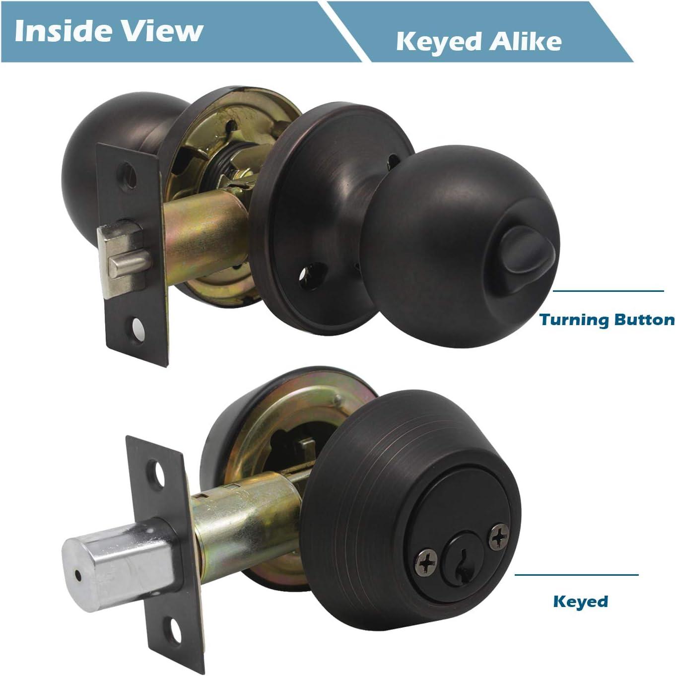 Gobrico Oil Rubbed Bronze Keyed-Alike Round Ball Entry Door Knob Lockset and Double Cylinder Deadbolt 1Pack Keyed on Both Side