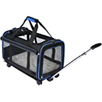 "YOUTHINK Pet Wheels Carrier, Removable Wheeled Travel Carrier for Pets up to 20 lbs, with Extendable Handle & Fleece Bed, 20"" x 12""x 11"", Black"