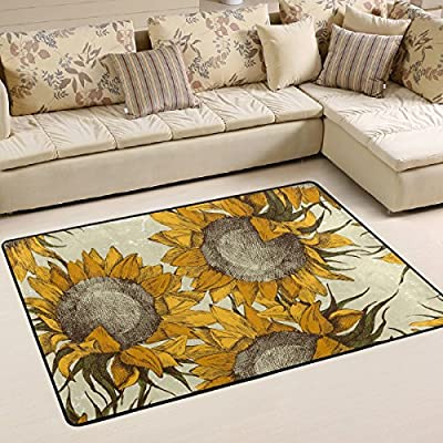 WOOR Vintage Ornament With Sunflowers Living Area Rugs for Living Room Bedroom Dining Office 6 x 4 Feet Modern Floor Mat Home Decor