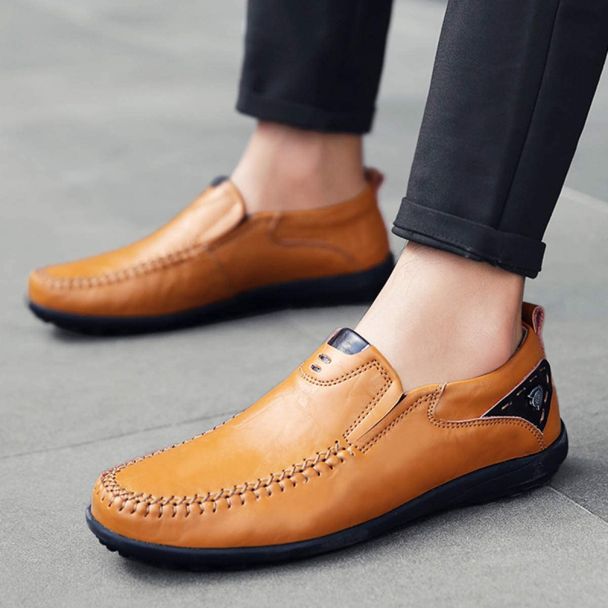 MELLOW SHOP Loafers Men Leather Casual Shoes Summer Adult Slip on Men Sneakers