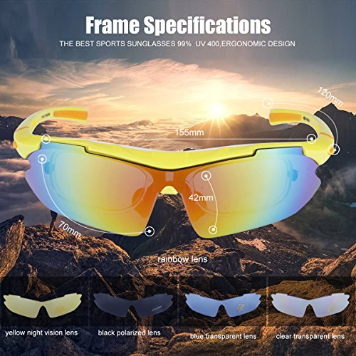 Polarized Sports Sunglasses Cycling Baseball Running Fishing Driving Golf Hiking Biking Outdoor Glasses with 5 Interchangeable Lenses Motorcycle Bicycle Riding Goggles for Men Women (yellow & orange) by LOVE'S (Image #3)