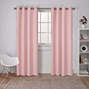 Exclusive Home Sateen Twill Woven Blackout Grommet Top Curtain Panel Pair, Blush, 52x84, 2 Piece