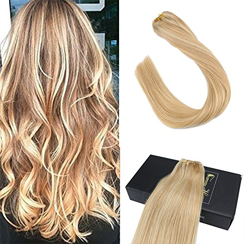 Sunny Honey Blonde with Bleach Blonde Highlight Piano Color Human Hair Extensions Weft One Bundle for Straight Or Weave Hairstyle 100g 16inch