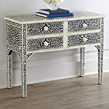 Floral Design Bone Inlay 4 Drawer Console Handmade Inlay Furniture