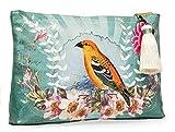 Vintage Golden Bird & Flower Art Design Oil Cloth Large Make-up or Accessory Travel Bag by Papaya