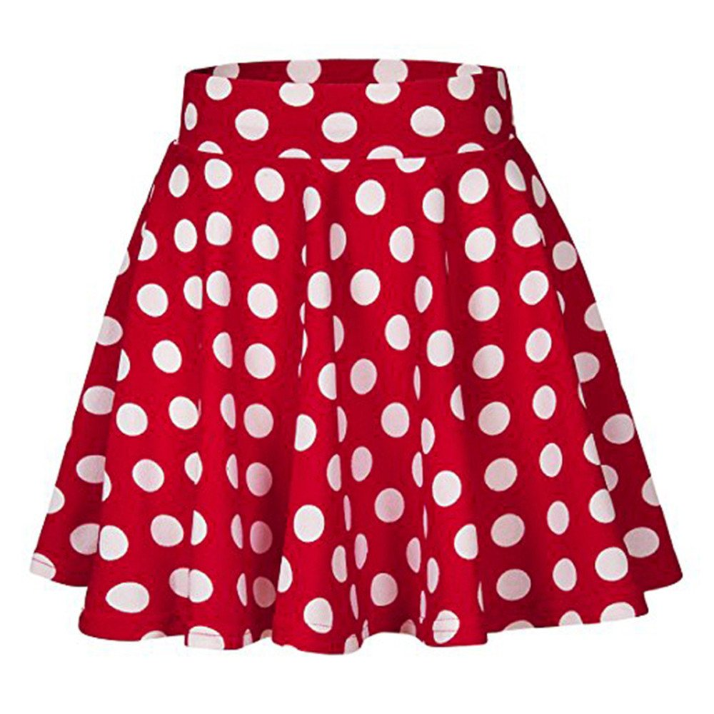 2019 Womens Summer Dot Printed Skirt Party Cocktail High Waist Midi Skirts (Red, S)