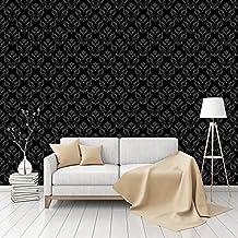 Aramis Black Patterned Peel & Stick Smooth Wallpaper by CustomWallpaper.com