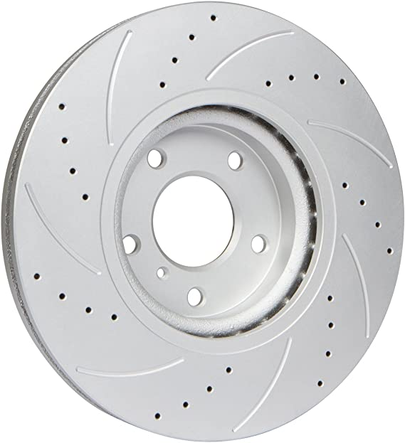 Fit 07-12 Acura RDX Front Cross Drilled Brake Rotors Semi Metallic Pads