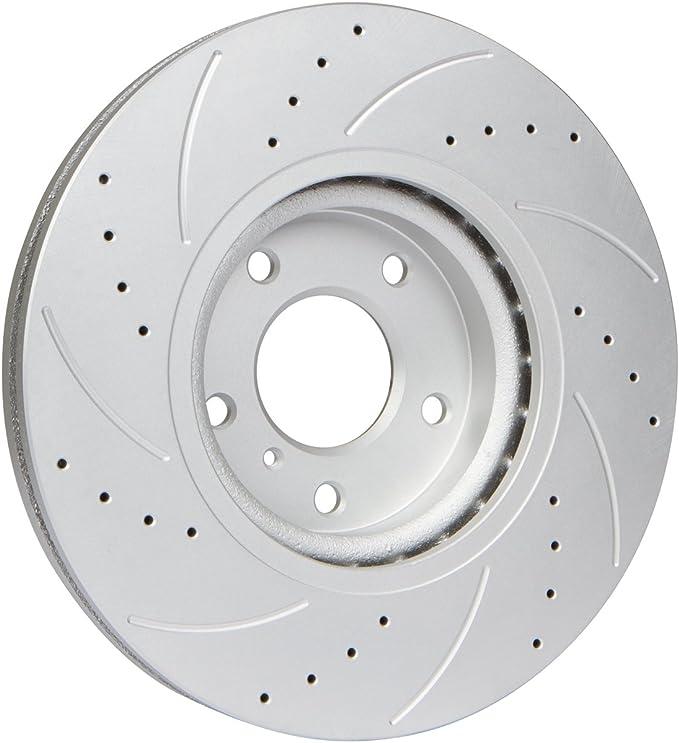 2 Cross-Drilled Disc Brake Rotors 4 Semi-Metallic Pads Heavy Tough-Series Front Kit 5lug Fits:- Pontiac Toyota