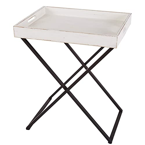 RiteSune Tray Table with Removable Antique White Wash Wooden Tray Top and Black Metal Base Tall End Table