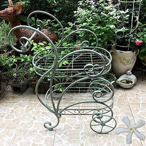 (Giow Flower Stand Vintage Wrought Iron Floor Stand Food Carts with Pulleys Balcony Living Room Shelf Stands)