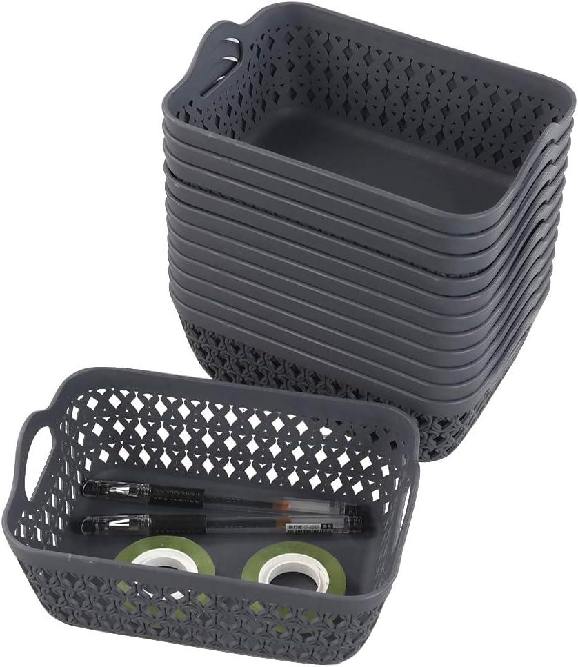 Morcte Mini Storage Basket Plastic Organization Trays Bins Grey, Set of 12